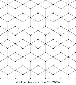 Vector geometric pattern grid texture with lines and dots. Seamless hexagon background.