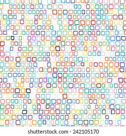 Vector geometric pattern with small hand drawn squares in bright variety of colors for spring summer fashion. Multicolor seamless background with aztec, ethnic and tribal motifs in 1970s style.