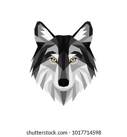 Vector. Geometric polygonal head of a grey wolf. Wild animal. Print for clothes.
