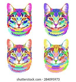 vector geometric portrait of a cat