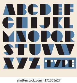 Vector Geometric Retro Alphabet. Type, font, vintage typography