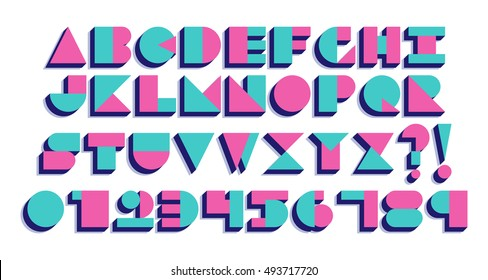 Vector Geometric Retro Font Isolated. 90s 80s Style
