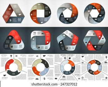 Vector geometric round infographics set. Triangle, square, circle, pentagon and hexagon templates for cycle diagram, graph, presentation and chart. Business concept with 3, 4, 5, 6 options, steps.
