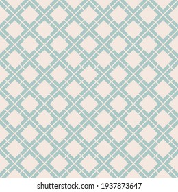 Vector geometric seamless pattern. Abstract vintage texture with big diamond shapes, rhombuses, squares, grid, lattice, grill, net. Stylish minimal background. Aqua green and beige colored design