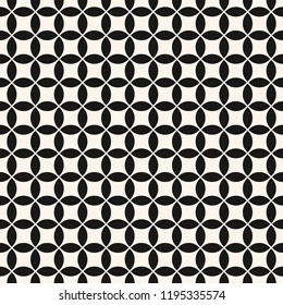 Vector geometric seamless pattern with big small round shapes, grid, net, lattice. Simple abstract black and white background. Monochrome ornament texture. Repeating design for decor, fabric, prints