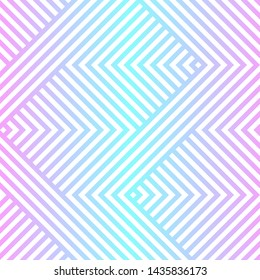 Vector geometric seamless pattern with chevron, zigzag lines, stripes. Neon holographic gradient, blue and pink tones. Abstract sport style graphic texture. Trendy background in 80s - 90s style