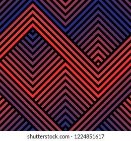 Vector geometric seamless pattern with colorful zigzag lines, stripes, chevron, halftone squares. Abstract sport style graphic texture. Trendy background in 1980-1990's style. Red and blue gradient