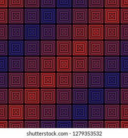 Vector geometric seamless pattern with colorful halftone squares, lines, grid. Abstract sport style graphic texture. Trendy background in 1980's - 1990's style. Red and blue neon diagonal gradient