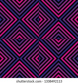 Vector geometric seamless pattern with colorful lines, stripes, square tiles, rhombuses. Abstract repeat graphic texture in pink, blue, purple and black color. Trendy background in 1980s - 1990s style