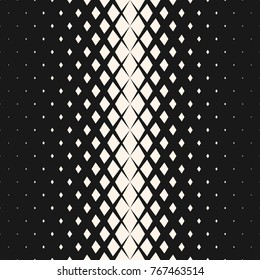 Vector geometric seamless pattern with fading rhombuses, diamond shapes. Halftone transition effect. Monochrome background with gradient. Modern abstract black & white texture. Hipster fashion design