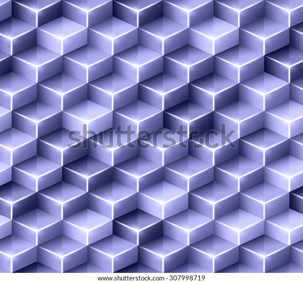 Vector geometric seamless pattern with glossy monochrome cubes. Tileable mosaic background with 3D glass boxes for wrapping design template or screen wallpaper