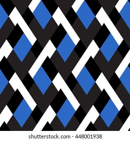 Vector geometric seamless pattern with lines and mosaic tiles in bright blue, black and white color. Modern bold print with diamond shape for fall winter fashion. Abstract tech op art background