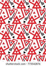 Vector geometric seamless pattern with lines and doubled red triangles in black and white. Modern bold print in 1920s style fashion. Abstract dynamic techno chevron background