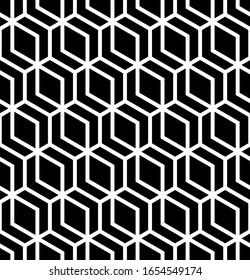 Vector geometric seamless pattern. Modern geometric background. Mesh with hexagonal cells.