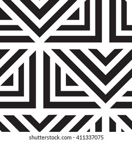 Vector geometric seamless pattern. Repeating abstract lines in black and white. Classical triangle flat texture, design 80s style