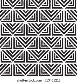 Vector geometric seamless pattern. Repeating abstract lines pattern in black and white. Classical triangle flat texture.