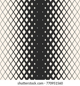 Vector geometric seamless pattern with rhombuses, diamond shapes, crystals. Halftone effect. Monochrome background with gradient transition. Abstract black & white texture. Hipster fashion design
