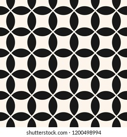 Vector geometric seamless pattern with rounded shapes, grid, net, mesh, lattice. Simple abstract black and white background. Monochrome ornament texture. Repeatable design for fabric, furniture, cloth