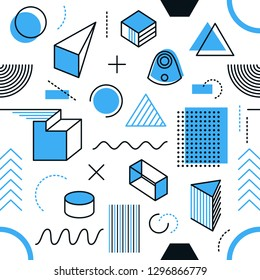Vector geometric seamless pattern simple memphis style shapes