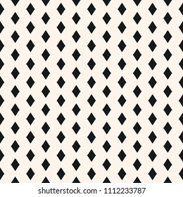 Vector geometric seamless pattern with small black rhombuses. Argyle ornament, repeat tiles. Diamonds texture. Simple abstract monochrome background. Classic design for decor, fabric, wrapping, print