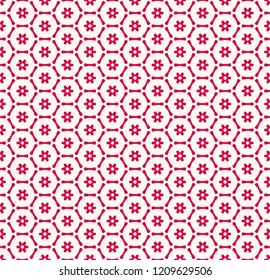 Vector geometric seamless pattern with small flower silhouettes, snowflakes, stars, hexagonal lattice, grid, mesh, net. Stylish red and white colored texture. Abstract background. Repeating design