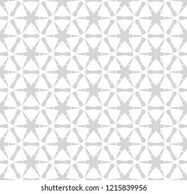 Vector geometric seamless pattern with small flower silhouettes, snowflakes, stars, lattice, grid, mesh, net. Subtle white and gray texture. Abstract repeat monochrome background. Delicate design