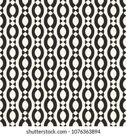 Vector geometric seamless pattern with smooth ovate shapes, chains, ropes, vertical bands. Elegant abstract monochrome background texture, repeat tiles. Black and white design for decor, fabric, cloth