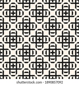 Vector geometric seamless pattern with square shapes, crosses, diamonds, lines, grid, lattice. Simple black and white geometrical background. Abstract monochrome texture. Repeat design for textile