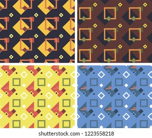 Vector geometric seamless pattern in tre dy 2019 colors. Modern bold print stylish fashion. Abstract dynamicbackground