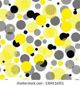 Vector geometric seamless pattern. Universal Repeating abstract circles figure in black white yellow. Modern circle design, pointillism eps10