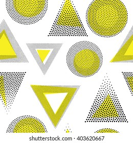 Vector geometric seamless pattern. Universal Repeating abstract circles figure in black and white. Modern halftone circle design, pointillism