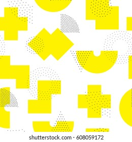 Vector geometric seamless pattern. Universal Repeating abstract circles figure in black white yellow. Modern halftone circle design, pointillism
