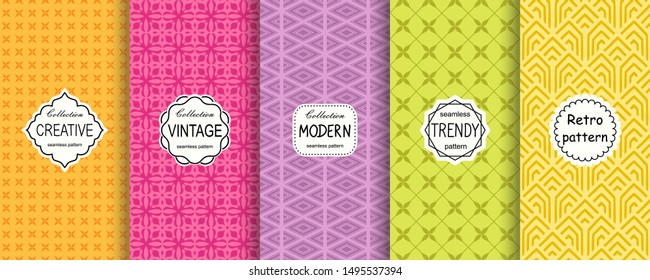 Vector geometric seamless patterns collection. Set of 5 bright colorful background swatches with elegant minimal labels. Cute trendy textures on vibrant background. Modern design.