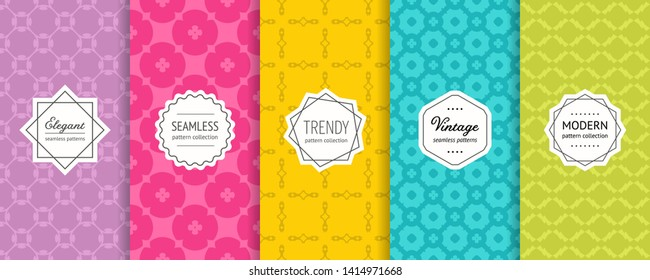 Vector geometric seamless patterns. Set of bright colorful background swatches with modern minimalist labels. Cute abstract textures collection, floral motif. Purple, pink, yellow, blue, green color