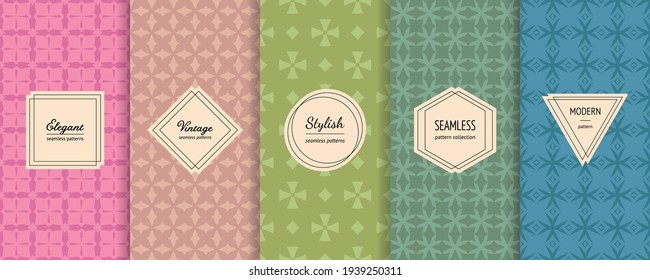 Vector geometric seamless patterns. Set of simple abstract background swatches with elegant minimal labels. Modern colorful textures collection. Pink, green, turquoise color. Trendy repeatable design