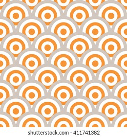 Vector geometric semicircles shapes and circles in seamless pattern. Modern ornamental seamless geometric textured background in gray and orange colors.