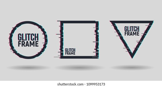 Vector geometric shapes frames with glitch effect. Modern trendy backgrounds for design card, poster, flyer, cover, banner.