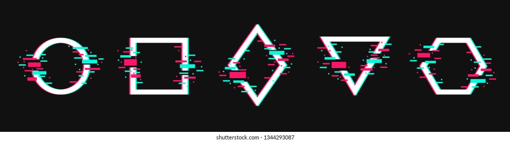 Vector geometric shapes frames with glitch effect. Circle, square, triangle, rhombus and hexagon in distorted glitch style. Modern trendy design elements.