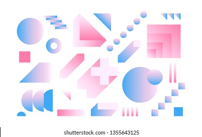 Vector Geometric Smooth blue pink gradient elements set for Magazine Leaflet Billboard Sale Artwork Business Web. Material Design style. Simple Minimalistic Colorful shapes based on Grid