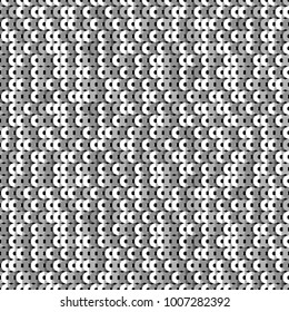 Vector geometric sparkle seamless pattern with silver sequins
