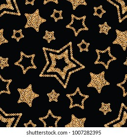 Vector geometric sparkle seamless pattern with gold sequins stars