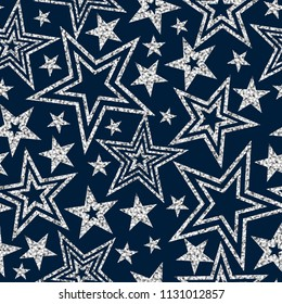 Vector geometric sparkle seamless pattern with silver glitter sparkle stars on blue background