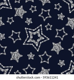Vector geometric sparkle seamless pattern with silver sequins stars