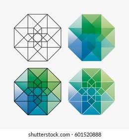 Vector geometric symbol of fourth dimension
