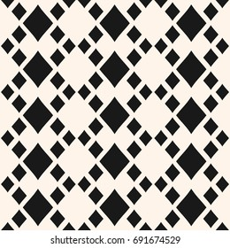 Vector geometric texture with rhombuses. Diamonds seamless pattern. Abstract monochrome ornamental background, traditional motif. Design element for home decor, textile, fabric, furniture, bedding