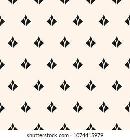 Vector geometric texture with small diamond shapes, feathers, flower silhouettes. Abstract modern seamless pattern. Minimalist monochrome background. Repeat design for decor, textile, fabric, cloth