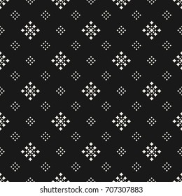 Vector geometric texture with tiny rhombuses, squares. Abstract modern seamless pattern. Subtle dark monochrome background. Design for decoration, package, textile, upholstery, covers, digital, web
