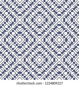 Vector geometric traditional folk ornament. Ethnic seamless pattern. Ornamental background with small squares, crosses, snowflakes, floral shapes. Texture of embroidery, knitting. White and blue color