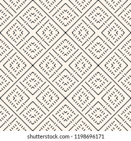 Vector geometric traditional folklore ornament. Fair isle seamless pattern. Tribal ethnic motif. Simple ornamental texture with small squares, crosses, embroidery, knitting. Black and white background
