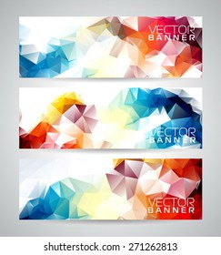 Vector geometric triangles banner background set. Abstract polygonal design. EPS 10 illustration.